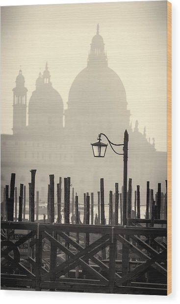 Black And White View Of Venice Wood Print