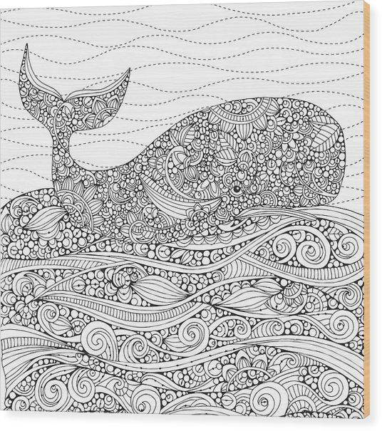 Black And White Whale Wood Print