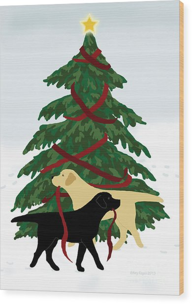 Black And Yellow Labs Trim Christmas Tree Wood Print