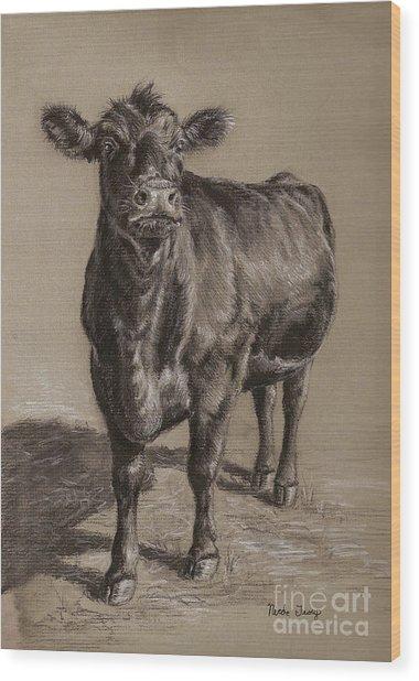 Black Angus Cow 1 Wood Print