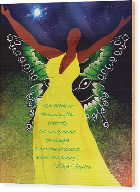 Black Butterfly - Tribute To Maya Angelou Wood Print