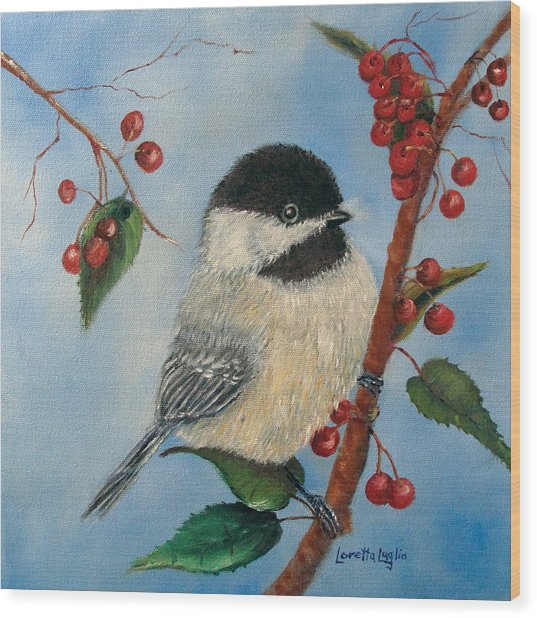 Black Capped Chickadee And Winterberries Wood Print