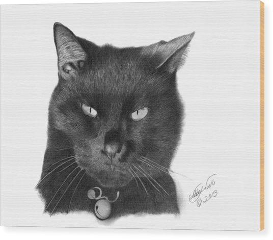 Black Cat - 008 Wood Print