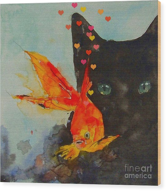 Black Cat And The Goldfish Wood Print