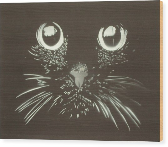 Black Cat Wood Print by Christopher Golding