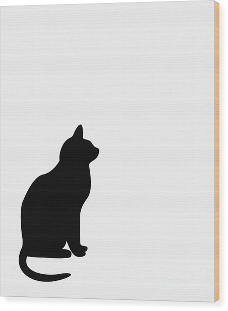 Black Cat Silhouette On A White Background Wood Print