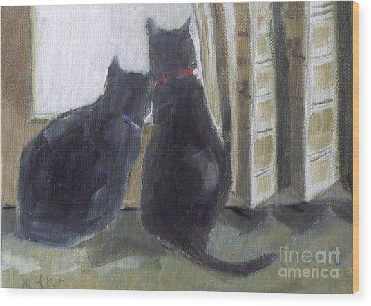 Black Cats  Wood Print