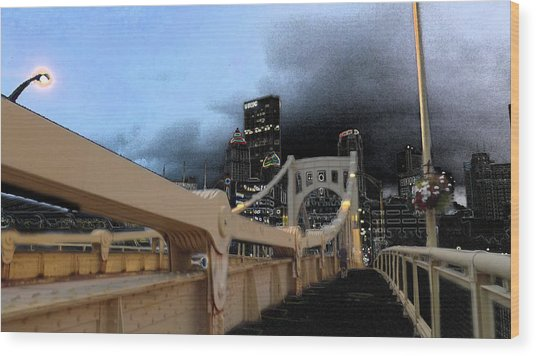 Black Cloud Over The City Wood Print
