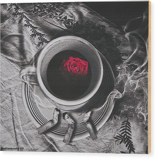Black Coffee And Roses Wood Print by Larry Butterworth