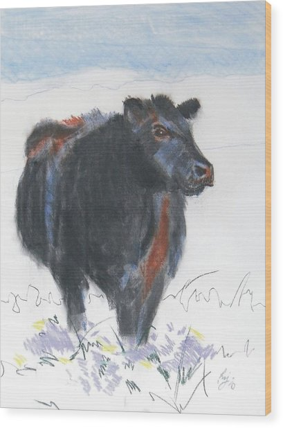 Black Cow Drawing Wood Print