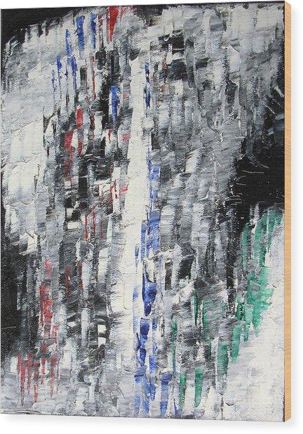 Black Crystal Cave - Black White Abstract By Chakramoon Wood Print by Belinda Capol