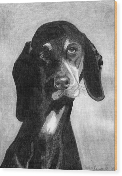Black Forest Hound Dog Portrait  Wood Print by Olde Time  Mercantile