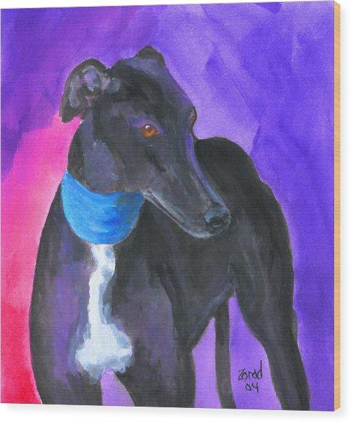 Black Greyhound Watercolor Wood Print by Mary Jo Zorad