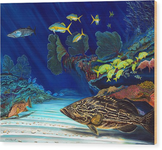 Black Grouper Reef Wood Print