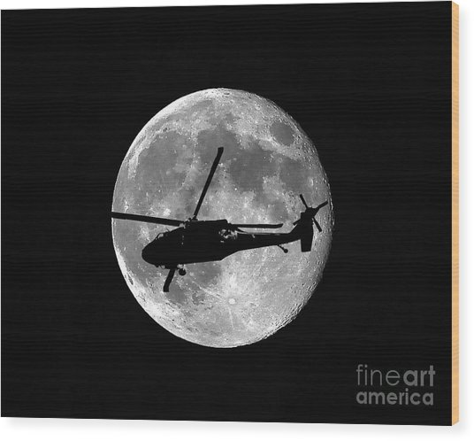 Black Hawk Moon Wood Print