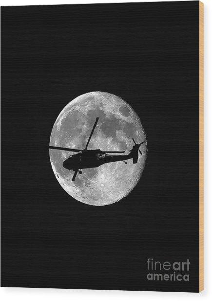 Black Hawk Moon Vertical Wood Print