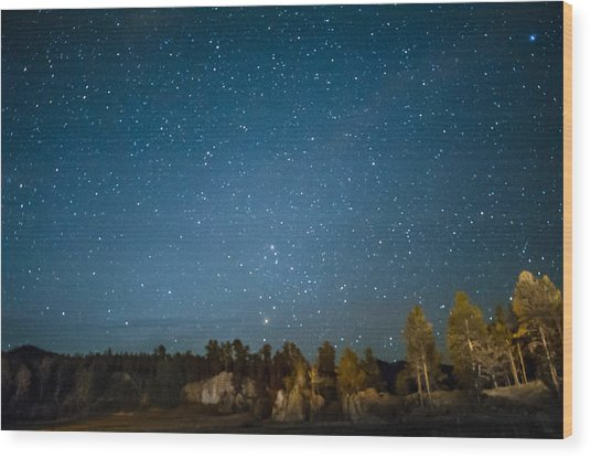 Black Hills Night Wood Print