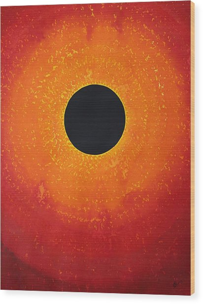 Black Hole Sun Original Painting Wood Print