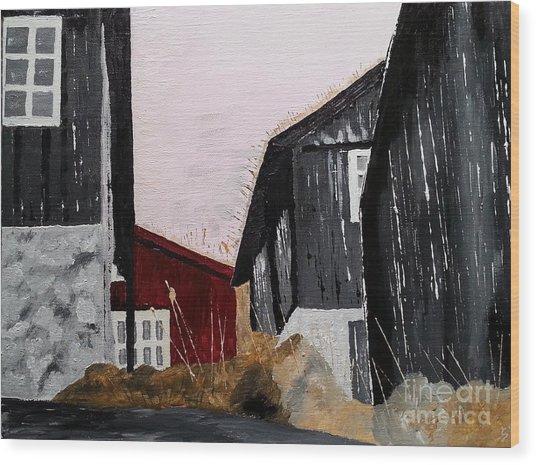 Black Houses Wood Print