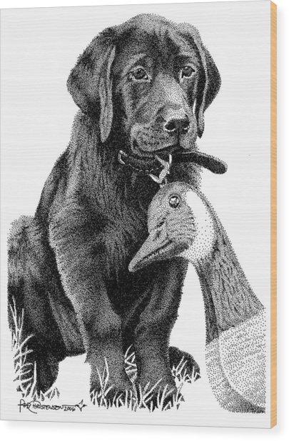 Black Lab Puppy Wood Print by Rob Christensen