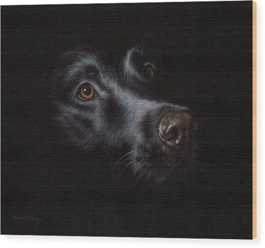 Black Labrador Painting Wood Print