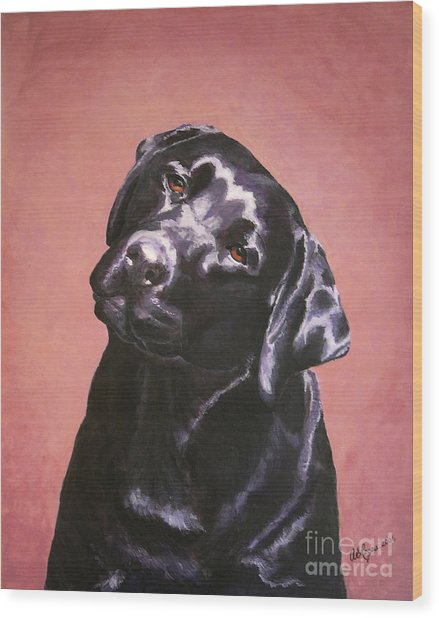 Black Labrador Portrait Painting Wood Print