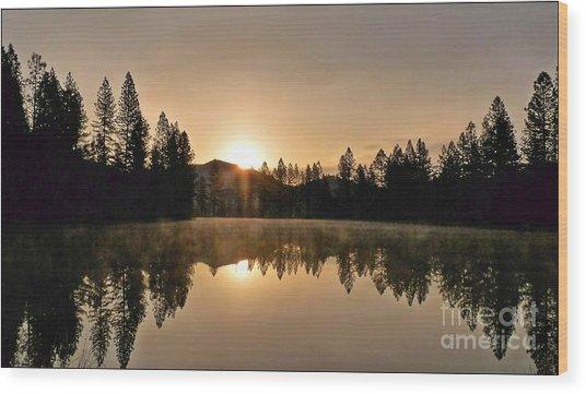 Black Lace Sunrise Wood Print