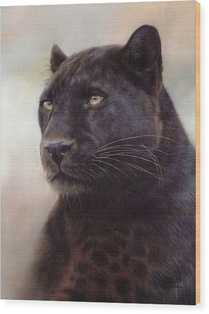 Black Leopard Painting Wood Print