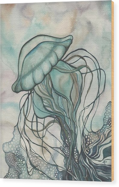Black Lung Green Jellyfish Wood Print