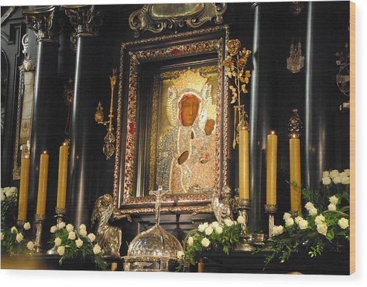 Black Madonna In Czestochowa Wood Print by Jacqueline M Lewis