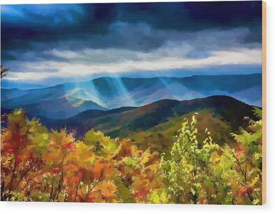 Black Mountains Overlook On The Blue Ridge Parkway Wood Print
