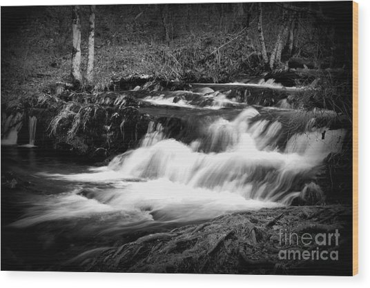Black N White Cascades Wood Print