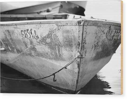 Black N White Row Boat Wood Print by Thomas Fouch