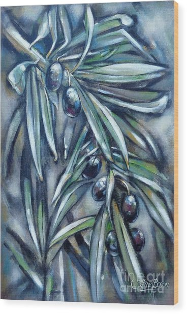 Black Olive Branch 200210 Wood Print