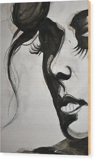 Black Portrait 16 Wood Print