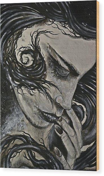 Black Portrait 4 Wood Print