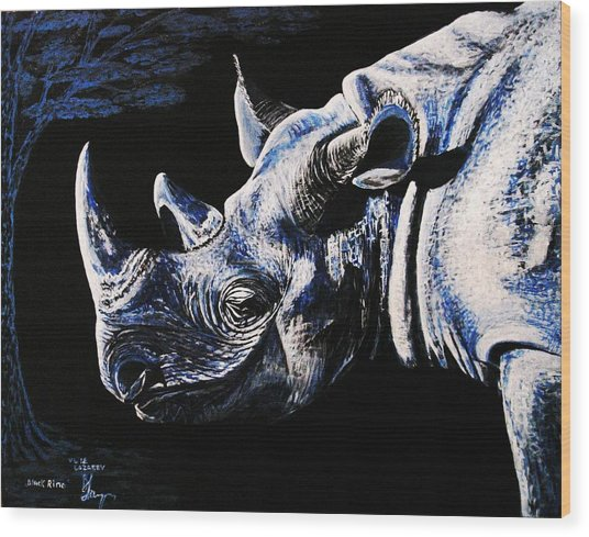 Black Rino Wood Print
