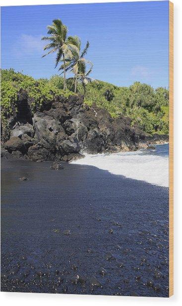 Black Sand Beach 1 Wood Print