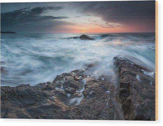 Black Sea Rocks Wood Print