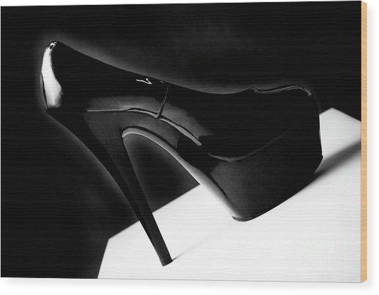 Black Sexy Stiletto Heels 1 Wood Print