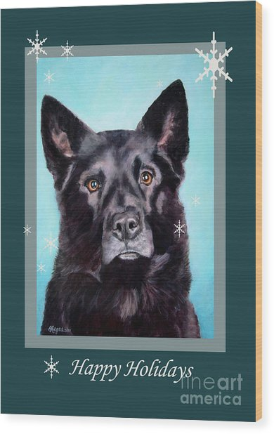 Black Shepard Mix Portrait Holiday Wood Print