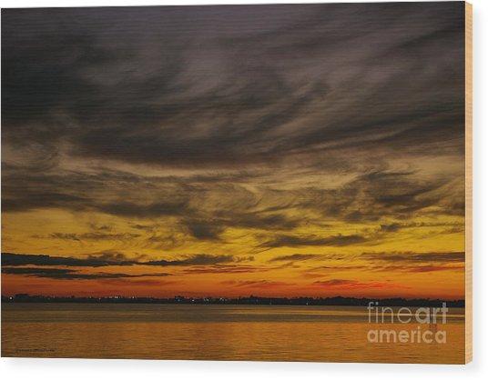 Black Sunset Wood Print