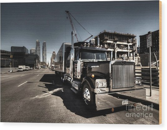 Black Truck In The City  Wood Print