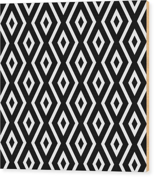 Black And White Pattern Wood Print