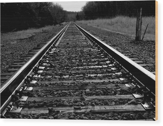 Black White Tracks Wood Print