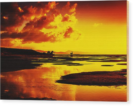 Black Yellow And Orange Sunrise Abstract Wood Print