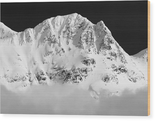 Blackcomb Above The Clouds In Black And White Wood Print