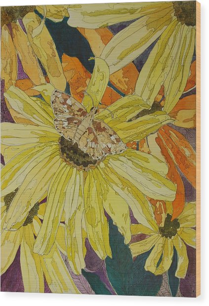 Blackeyed Susans And Butterfly Wood Print