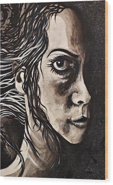 Blackportrait 8 Wood Print