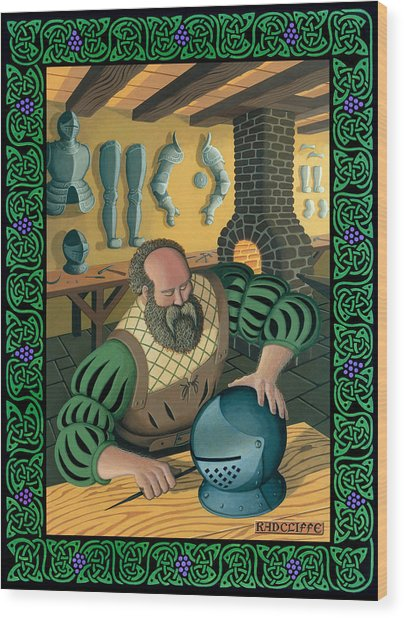 Blacksmith Armourer Wood Print by Guy Radcliffe